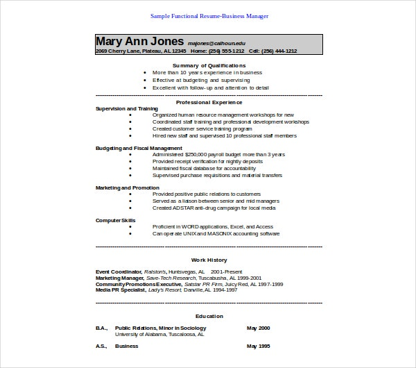 sample functional business manager resume