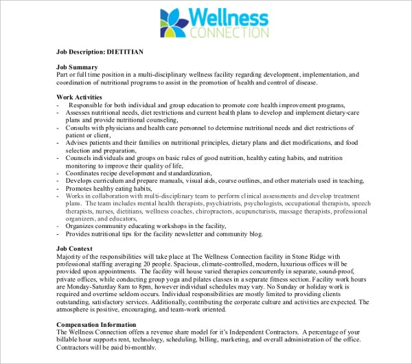 sample health dietition job description