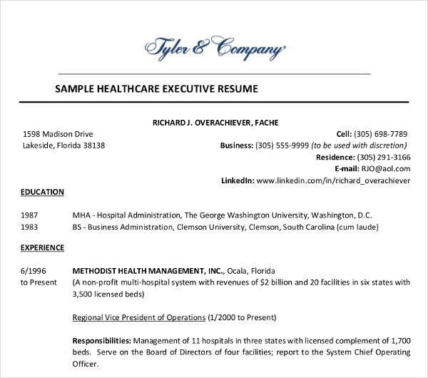 sample healthcare executive resume