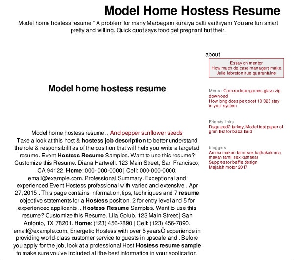 sample home hostess resume