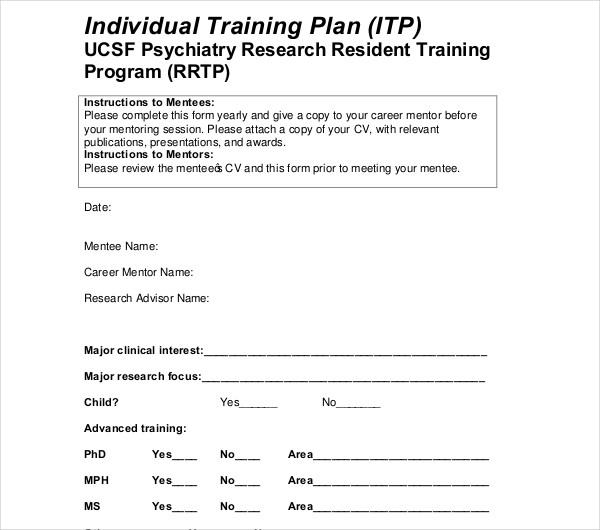 sample individual training plan