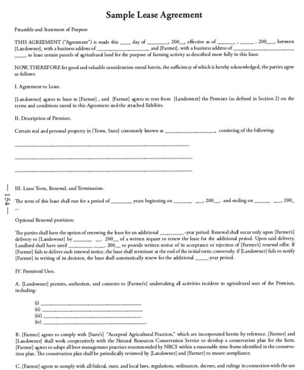 Sample Lease Agreement