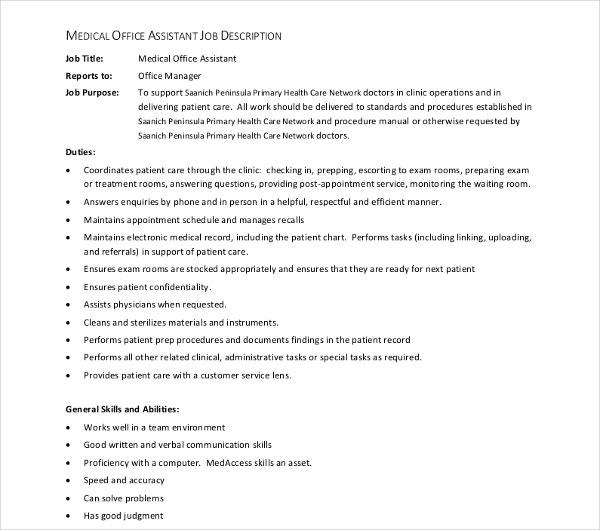 Medical Assistant Job Description Templates  Pdf Doc  Free