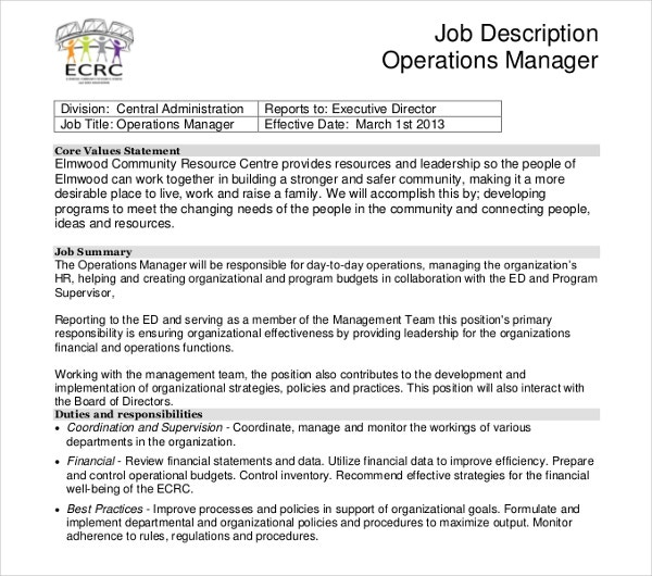 sample operation manager job description
