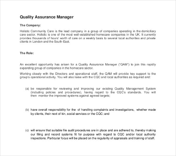 Sample Quality Assurance Job Description