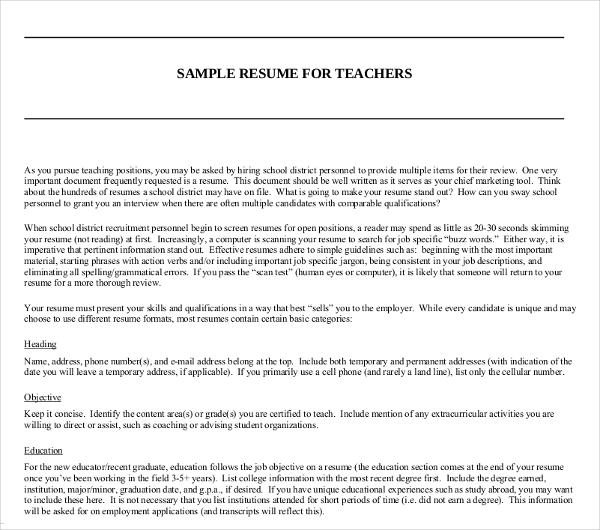 sample resume for teachers