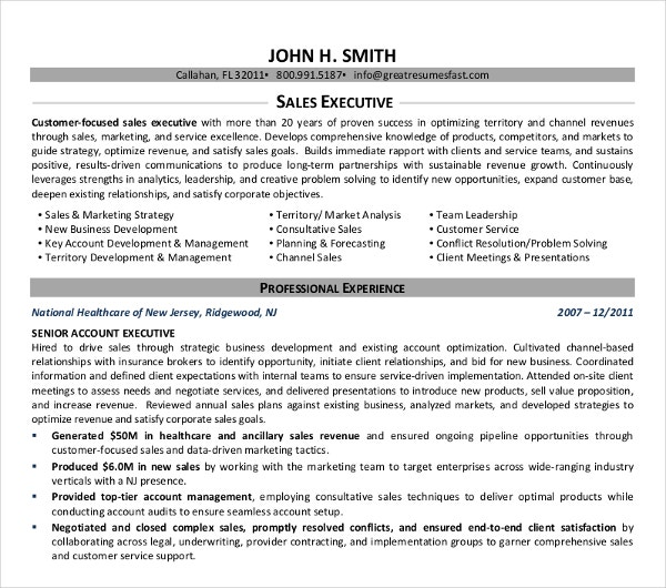 sample sales executive resume