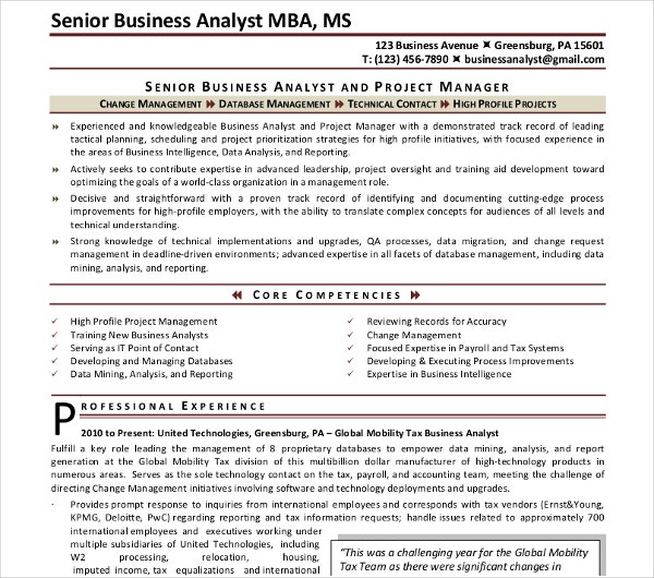 sample senior business analyst resume