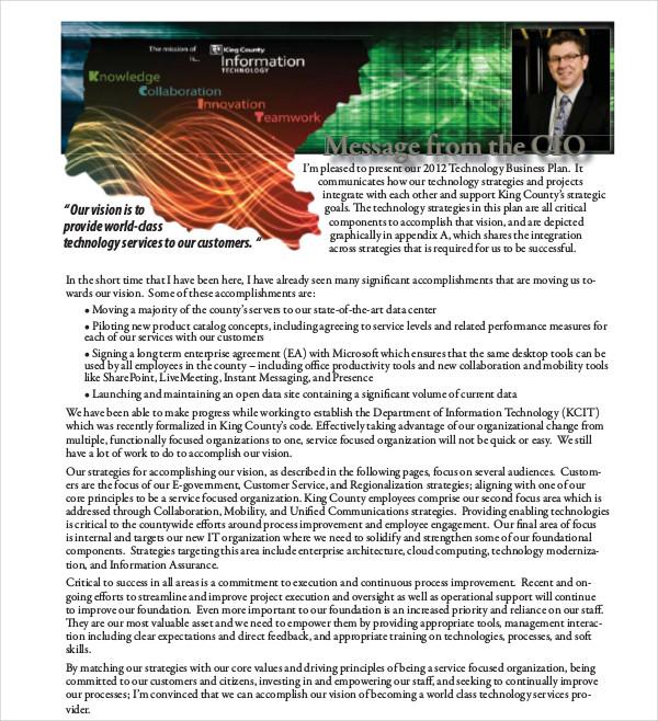 sample technology business plan
