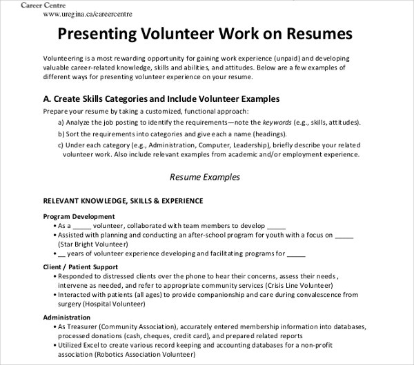 sample volunteer work resume