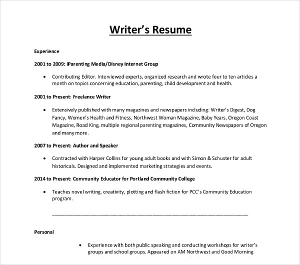 sample writers resume