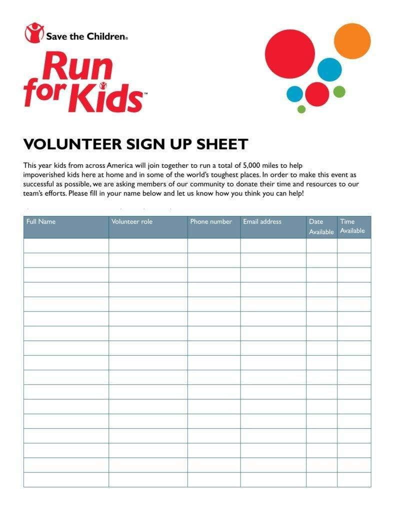 10 volunteer sign up sheet templates pdf free premium templates