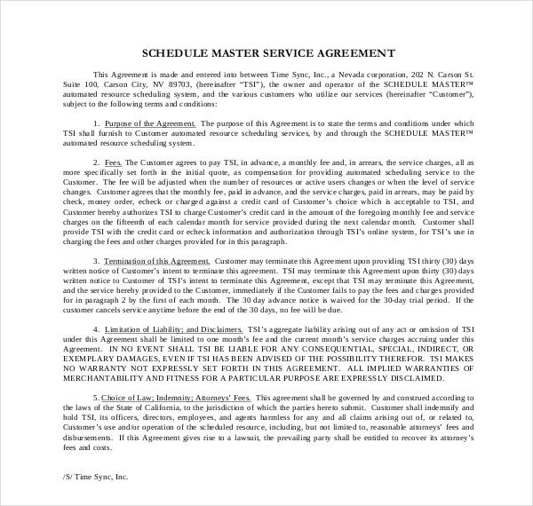 schedule master service agreement temp