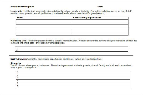 school marketing plan