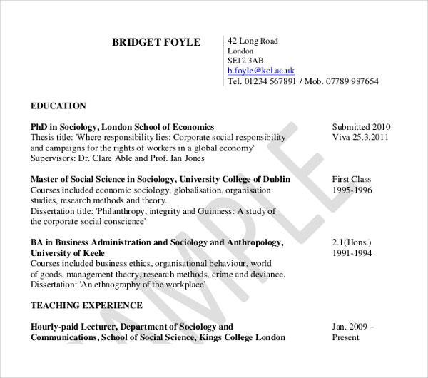 10  teaching curriculum vitae templates
