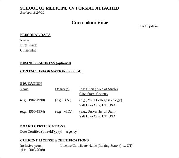 school of medical curriculum vitae