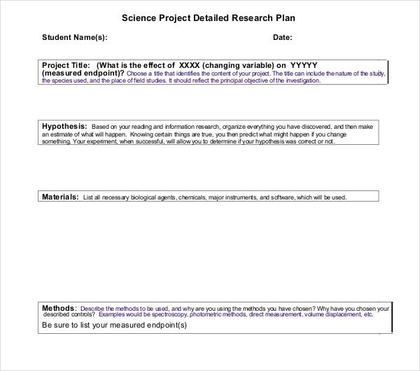 science project detailed research plan