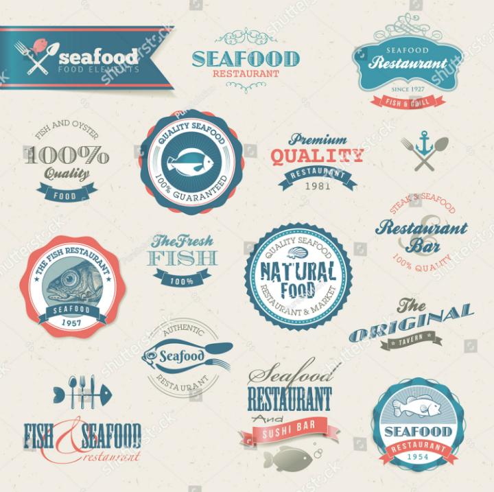 seafood restaurant labels template set