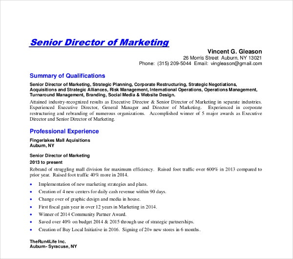 senior director marketing executive resume