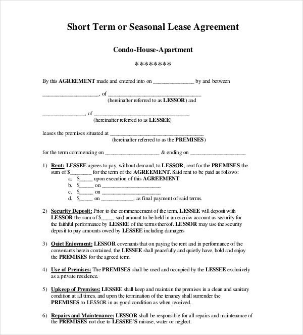 short term seasonal lease agreement