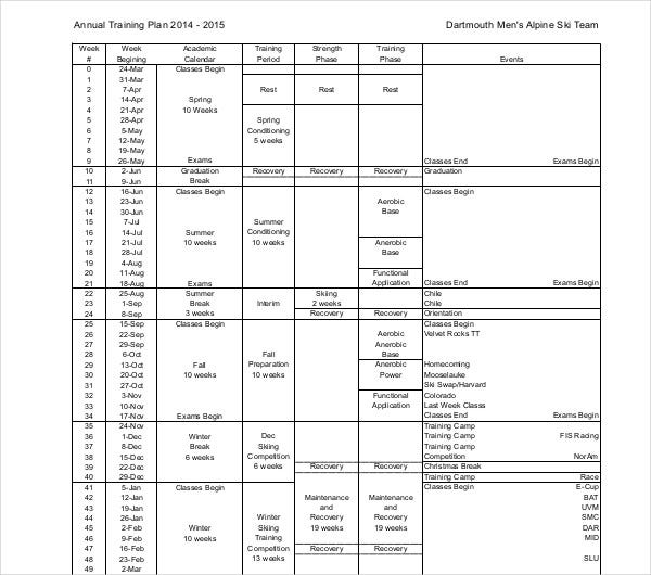simple annual training plan