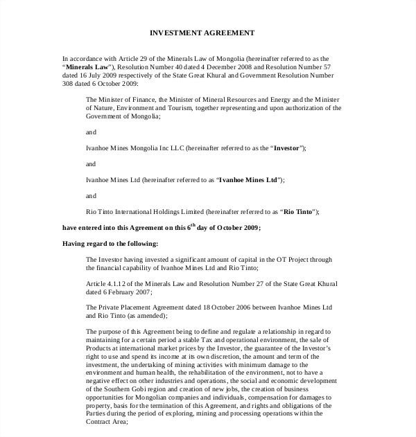 simple investment agreement template