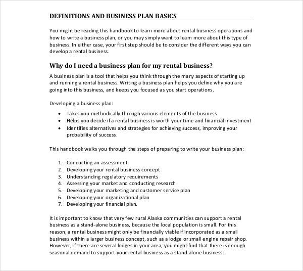 small rental business marketing plan