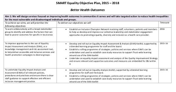 smart equality objective plan