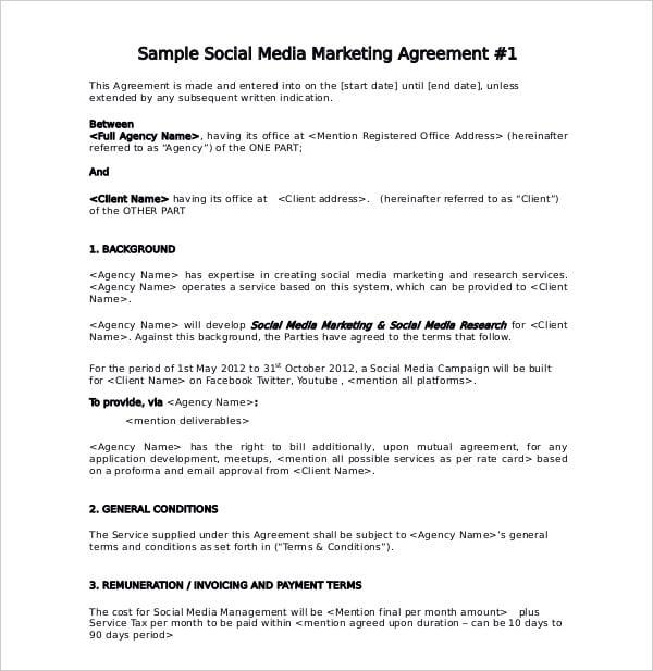 social media marketing service agreement