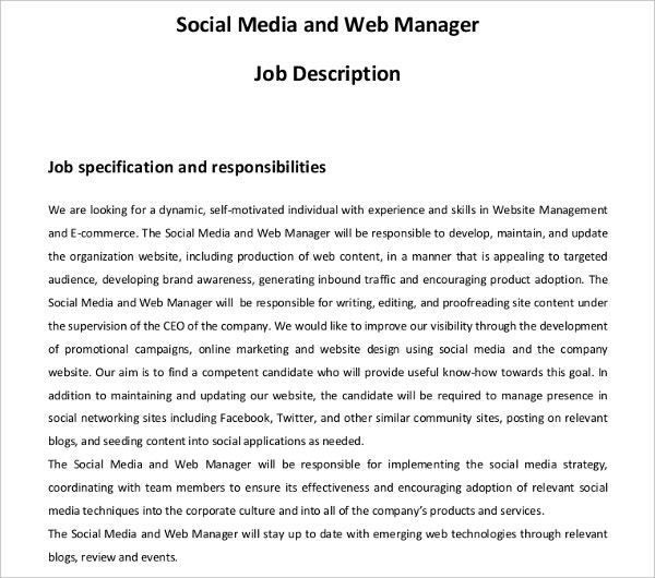 Social Media And Web Manager Job Description Template
