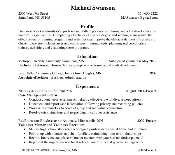 social worker and human service resume