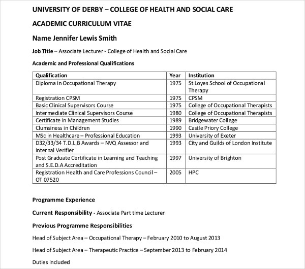10  health care curriculum vitae templates