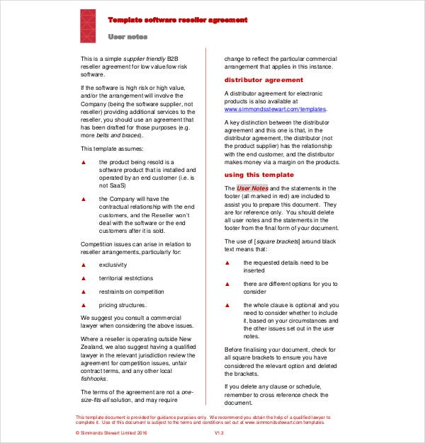 software reseller agreement template