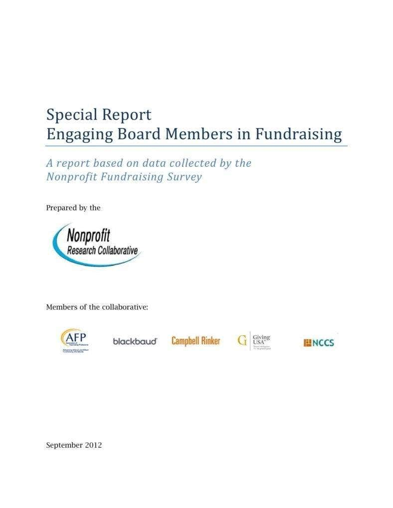 Special Report in Fundraising