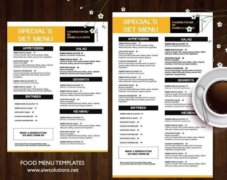 Special Restaurant Menu