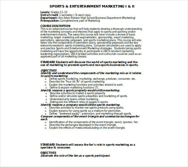 sports entertainment marketing plan
