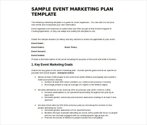 sports event marketing plan