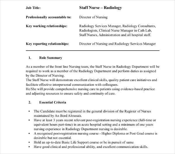 staff and nurse radiology job description
