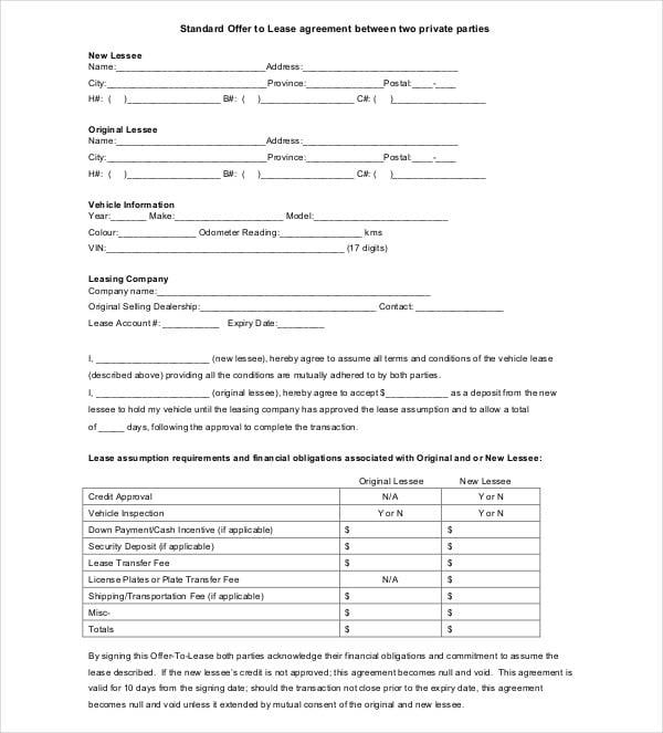 standard offer lease agreement