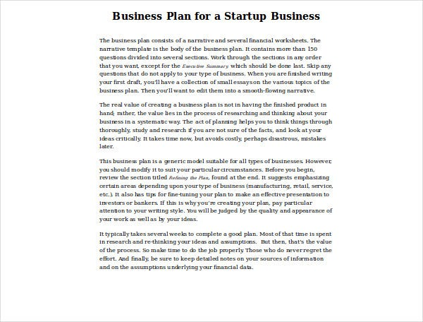 startup business financial plan