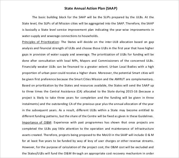state annual action plan template