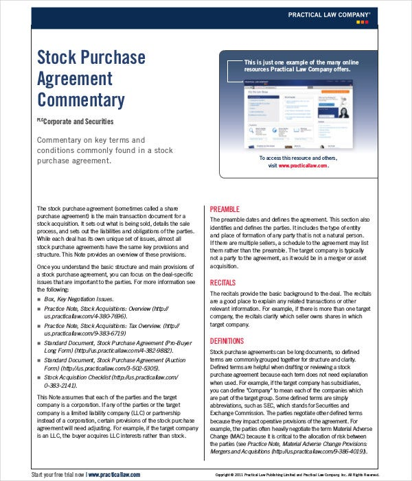 stock purchase agreement commentary