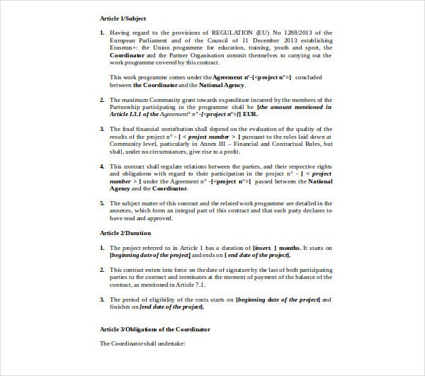 strategic partnership contract template