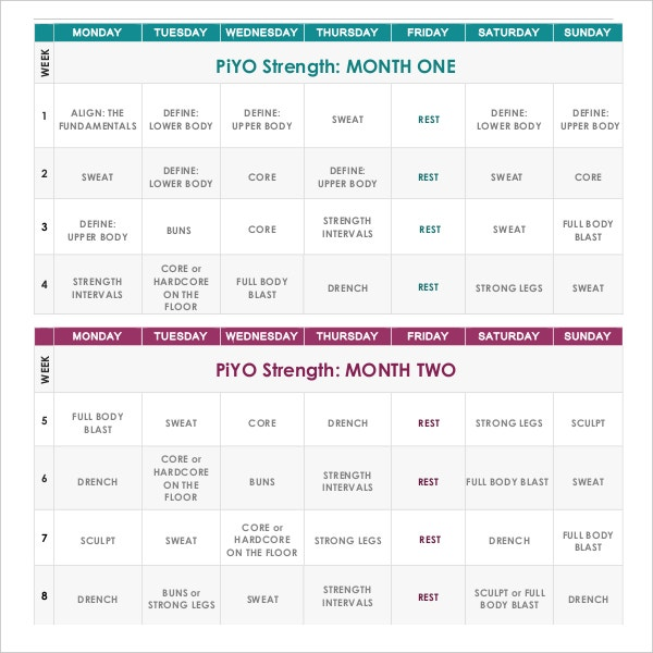 Strength Workout Calendar Sample