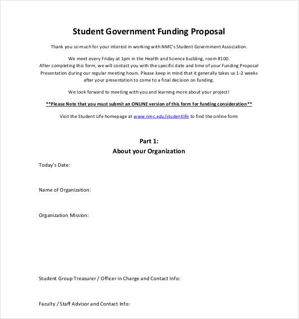 student government funding proposal