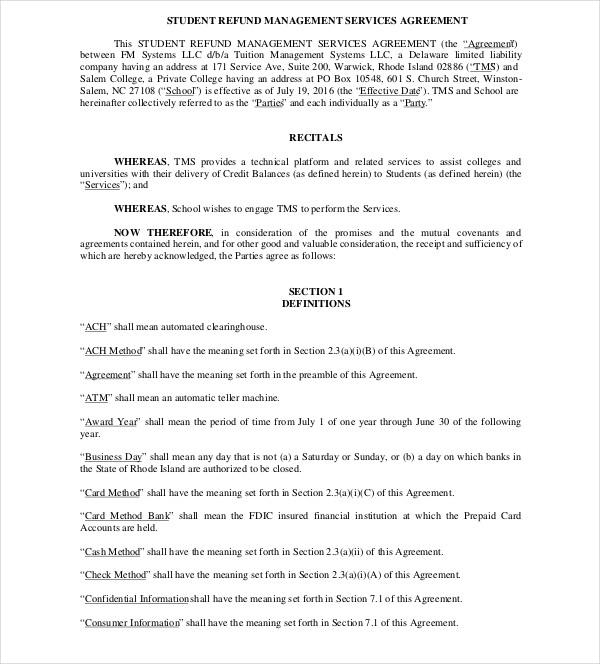 student refund management services agreement