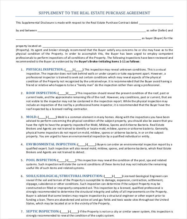 supplement real estate purchase agreement