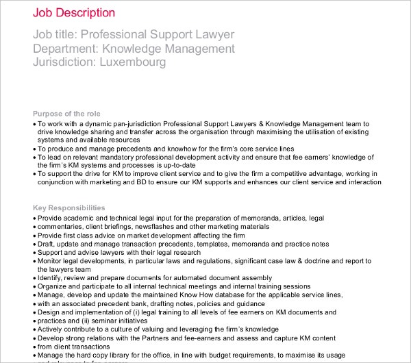 support lawyer job description template