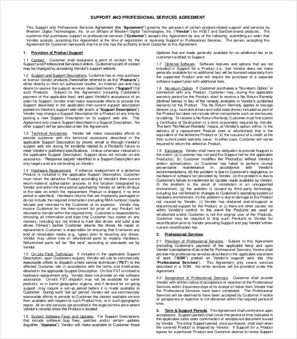 support professional services agreement template