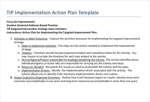 tip implementation action plan template